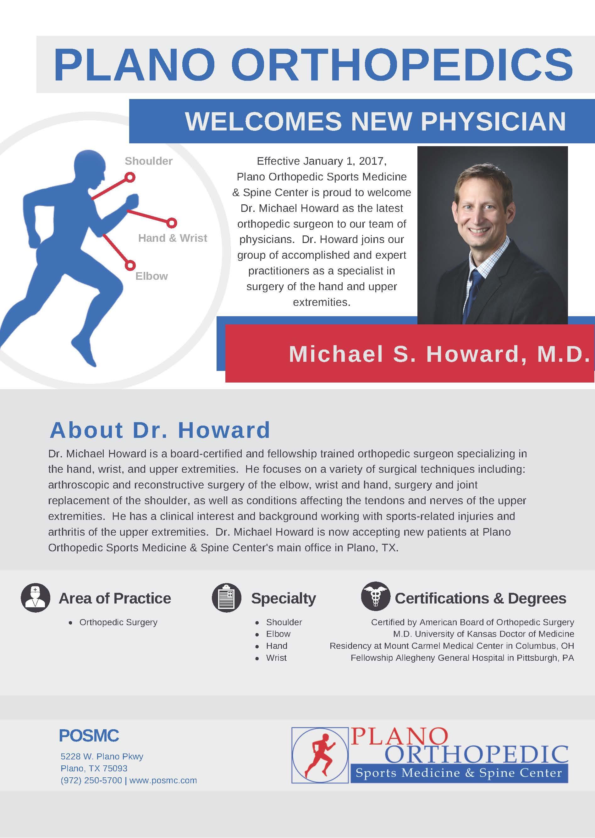 Plano Orthopedics Welcomes New Physician - Plano Orthopedic